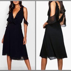 NWT ASOS chiffon cold shoulder midi dress